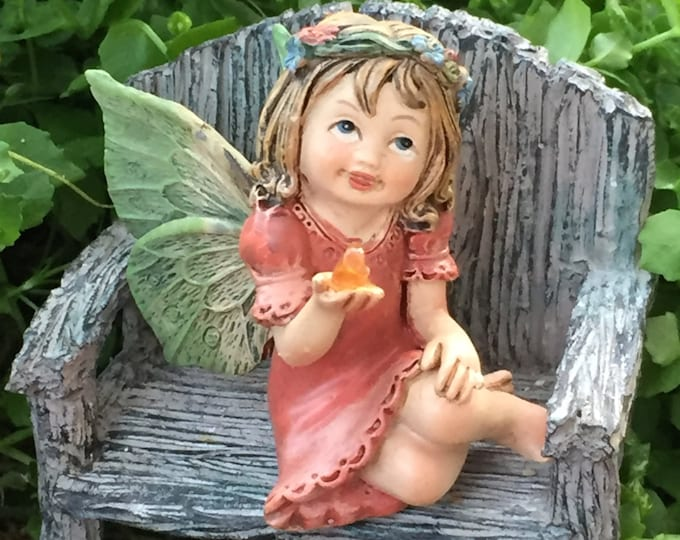 Sweet Flower Crown Fairy Figurine, Sitting Fairy With Green Wings, Holding Gem, Fairy Garden Accessory, Miniature Garden Decor, Topper