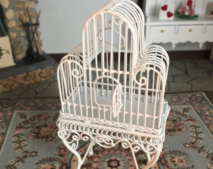 Miniature White Birdcage on Stand, Hinged Door & Wing, Dollhouse Miniature, White Metal Wire Bird cage, Dollhouse Miniature, 1:12 Scale