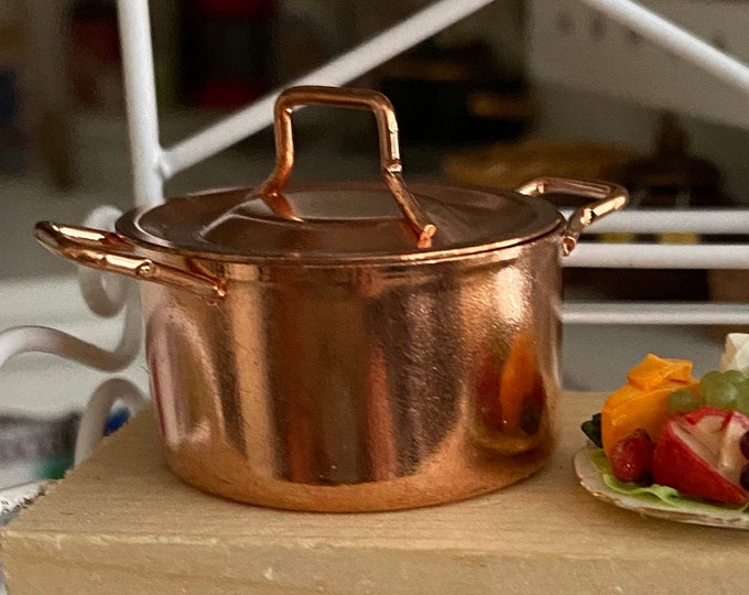 Miniature Copper Pot, Copper Pot With Handles and Lid, Style #18, Dollhouse Miniature, 1:12 Scale, Dollhouse Kitchen Decor, Accessory
