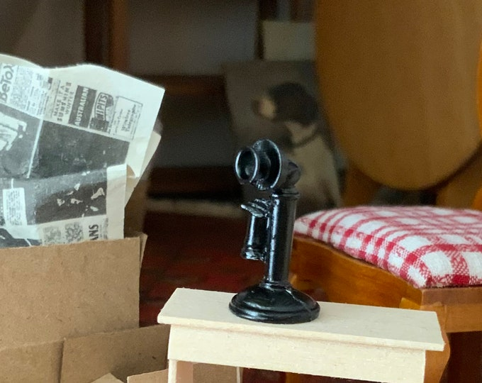 Miniature Phone, Vintage Look Mini Black Phone, Dollhouse Miniature, 1:12 Scale, Dollhouse Accessory, Dollhouse Decor