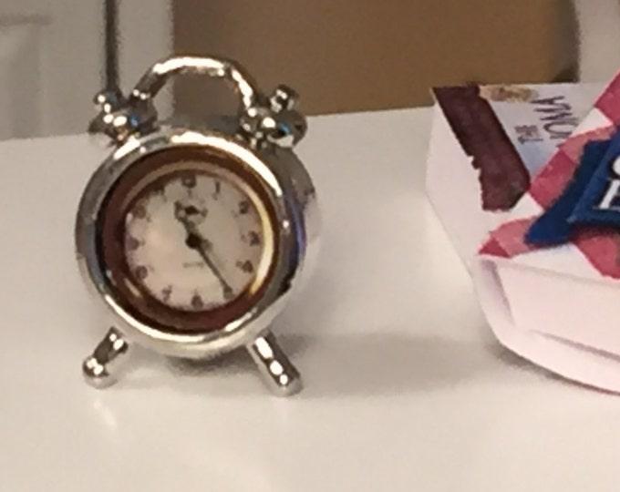 Miniature Silver Alarm Clock, Dollhouse Miniature, 1:12 Scale, Dollhouse Accessory, Decor, Mini Windup Clock, Dollhouse Decor