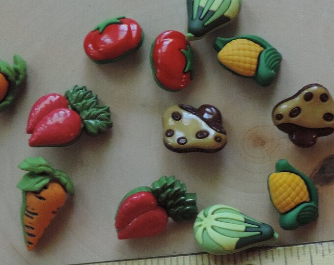 """Vegetable Veggie Lover Buttons, Novelty Buttons Assortment Package by Buttons Galore, Style 4092 """"Veggie Lover"""", Sewing, Crafting Embellis"""