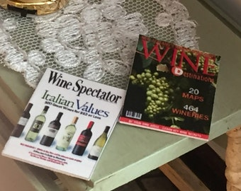 Miniature Wine Magazines, Dollhouse Miniatures, 1:12 Scale, Set of 2, Dollhouse Accessories, Decor, Mini Magazines