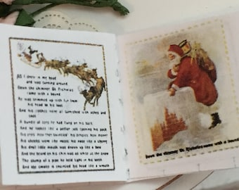 Miniature Christmas Story Book, Readable Miniature Book, 1:12 Scale, Dollhouse Miniature, Tiny Book, Holiday Decor, Dollhouse Accessory