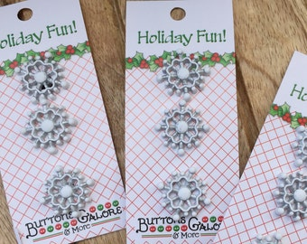 Snowflake Buttons, Carded Buttons by Buttons Galore, Style CM126, Holiday Fun Collection, Set of 3, Shank Back Buttons, Embellishments