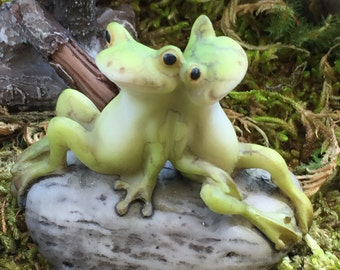 Miniature Frog Friends Sitting On Stone, #42, Fairy Garden Accessory, Miniature Garden Decor Topper, Frog Figurine, Gift