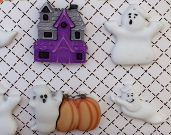 "Halloween Buttons, Ghosts and Haunted House,""Boo Buddies"" by Buttons Galore, Halloween Collection, Carded Buttons, Set of 6 Buttons"
