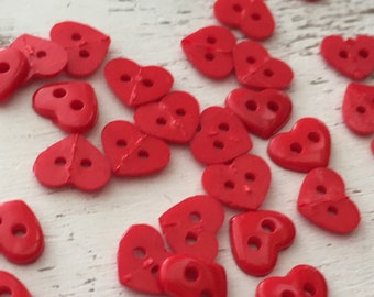 """Tiny Heart Buttons, Packaged 2 Hole Buttons, Sew Thru Red Heart Buttons by Buttons Galore, Style 1826 """"Red Hearts"""", Sewing, Crafting"""