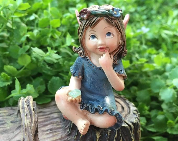 Sweet Flower Crown Fairy Figurine, Sitting Fairy, Blue Dress, Holding Gem, Pink Wings, Miniature Garden Decor, Topper