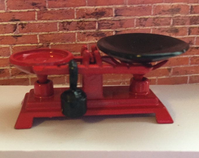 Miniature Scale With Weight, Metal Vintage Inspired Store Scale, Dollhouse Miniature, 1:12 Scale, Red Scale, Mini Metal Scale