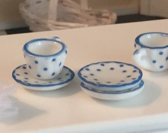 Miniature Dotted Cups, Polka Dot Mugs, Dollhouse Miniature, 1:12 Scale, Blue and White Cups & Saucers