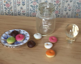 Miniature Donuts in Glass Jar, Dollhouse Miniature, 1:12 Scale, Dollhouse Food, Mini Donuts, Miniature Food, Play Food, Dollhouse Kitchen