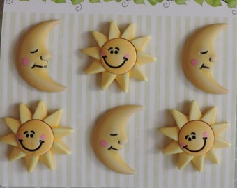 "Sun and Moon Buttons, Carded Set of 6 Buttons by Buttons Galore, Bazooples Collection ""The Sun and The Moon"""