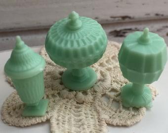 Miniature Jadite Candy Dish Set, Dollhouse 1:12 Scale, Dollhouse Accessories, Decor, Mini Dishes
