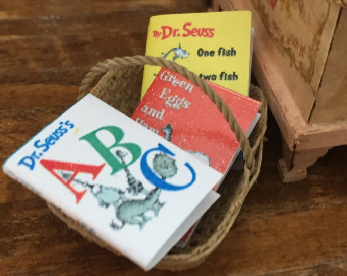 Miniature Children's Books, Set of 3,  Fish, ABC and Green Eggs,  Dollhouse Miniatures, 1:12 Scale