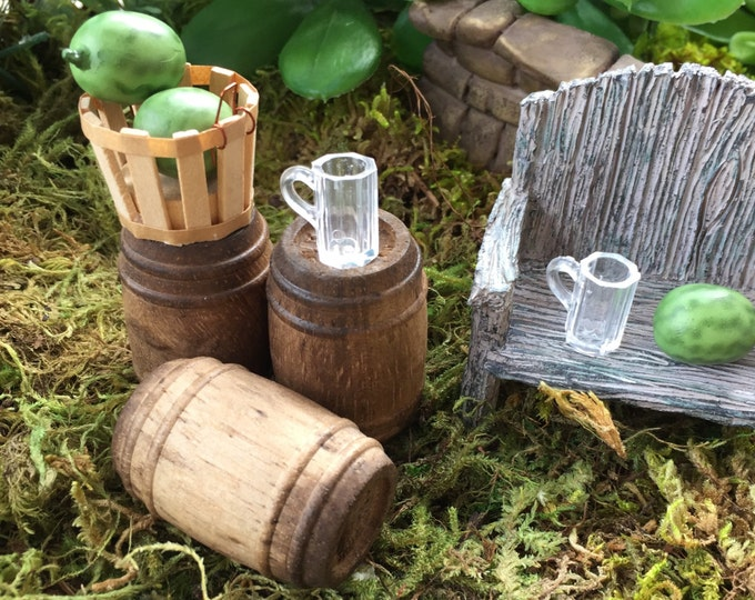 Miniature Antique Wood Barrel, Dollhouse Miniature, 1:12 Scale, Miniature Home and Garden Decor, Accessory, Mini Wood Barrel