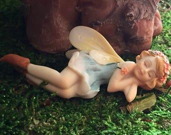 Sleeping Flower Fairy Figurine, Fairy Garden Fairy, #88, Fairy Garden Accessory, Mini Home & Garden Decor, Blue Dress Fairy
