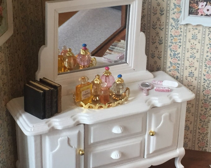 Miniature White Wood Dresser with Mirror, Dollhouse 1:12 Scale Miniature, Dollhouse Furniture, Bedroom Dresser, Wood Dresser With Drawers
