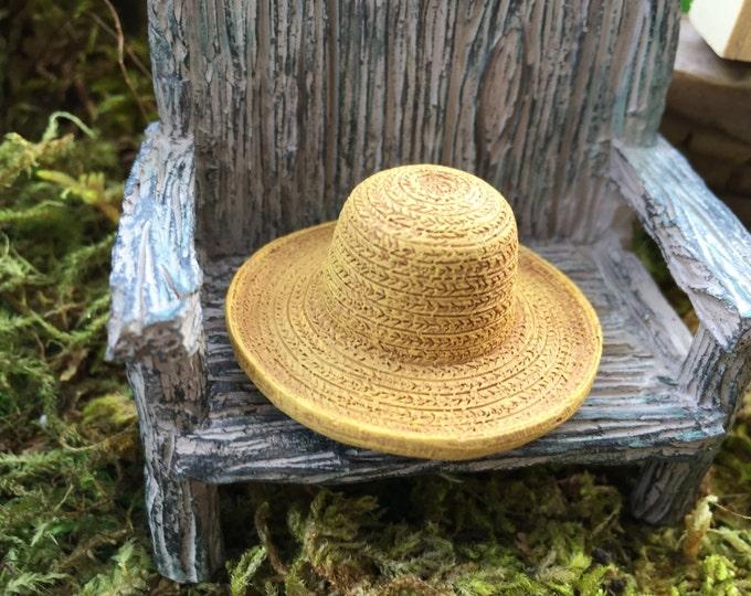 Miniature Hat, Garden Straw Look Hat, Dollhouse Miniature, Miniature Garden, Fairy Garden Accessory, Mini Straw Hat, Style 8609