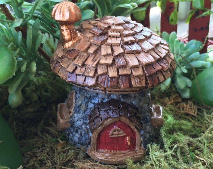 "Micro Mini Fairy Garden House ""Shingletown Mushroom"" Fairy House by Fiddlehead Fairy Garden Accessory, Home and Garden Decor, Terrarium"