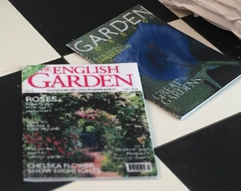 Miniature Garden Magazines, Gardening Magazines, Dollhouse Miniatures, 1:12 Scale, Set of 2, Dollhouse Accessories, Mini Magazines