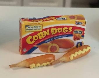 Miniature Corn Dogs, Mini Food, Corn Dog Box and 2 Corn Dogs, Dollhouse Miniatures, 1:12 Scale, Mini Food, Dollhouse Food, Play Food
