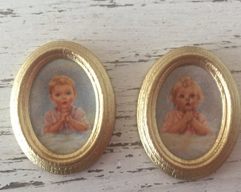 Miniature Framed Oval Pictures, Bedtime Prayer, Boy & Girl Praying Pictures, Dollhouse 1:12 Scale Miniatures, Dollhouse Accessory