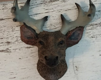 Mini Deer Head With Antlers, Deer Head Figurine, Dollhouse Miniature, Dioramas, Topper, Cabin Decor, Hunting, Topper