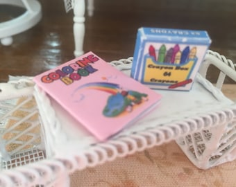Miniature Rainbow Coloring Book and Crayon Box, Dollhouse Miniatures, 1:12 Scale, Dollhouse Decor, MIniature Accessories