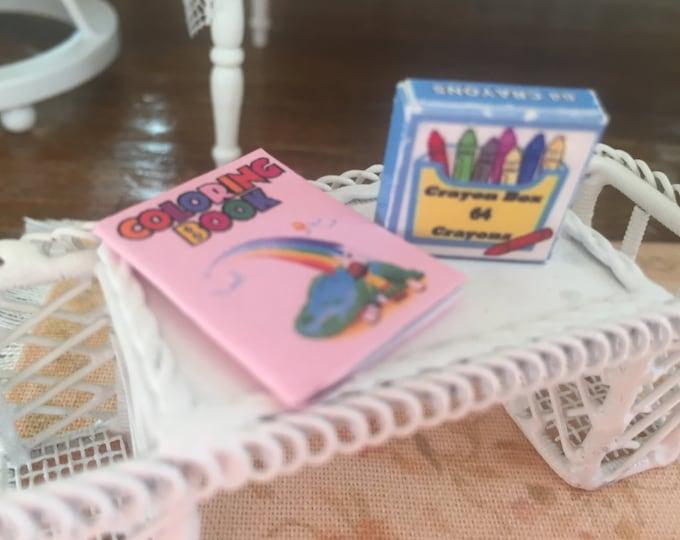 Miniature Rainbow Coloring Book and Crayon Box, Dollhouse Miniatures, 1:12 Scale, Dollhouse Decor, MIniature Accessories