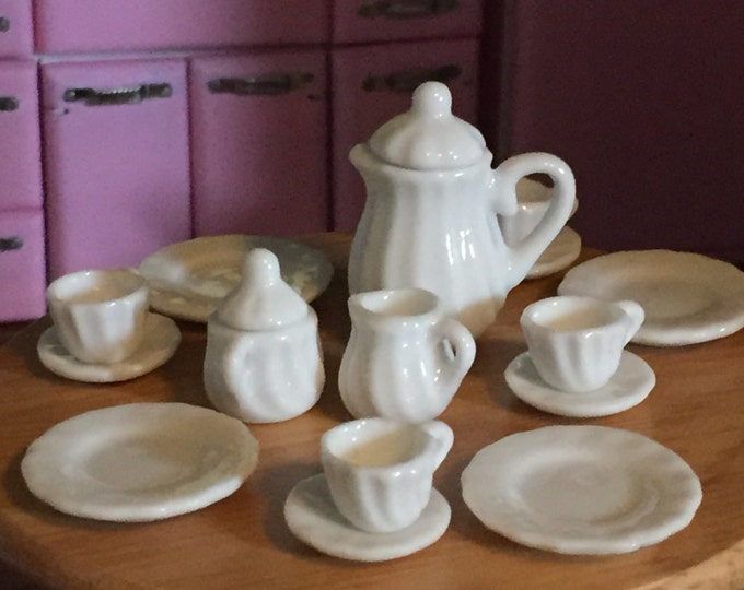Miniature White Tea Set, Coffee or Tea White Set, White Dishes and Cups, Dollhouse Miniatures, 1:12 Scale, Dollhouse Dining, Decor