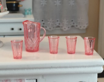 Miniature Pink Pitcher and Glasses Set, Dollhouse Miniature, 1:12 Scale, Dollhouse Kitchen Dining Accessories, Drinking Glasses & Pitcher