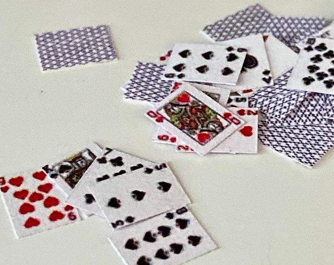 Miniature Playing Cards, Dollhouse Miniature, 1:12 Scale, Dollhouse Decor, Accessory, Crafts, Mini Cards