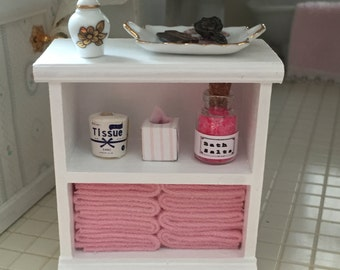 Miniature White Decorated Bathroom Cabinet, Dollhouse Miniature,  1:12 Scale, Wood Cabinet with Pink Towels, Tissue, Toilet Paper