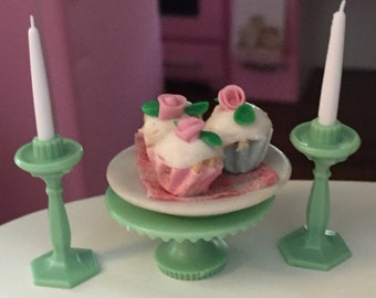 Miniature Cake Stand and Candle Set, Jadeite, Plate Stand, Dollhouse Miniature, 1:12 Scale, Dollhouse Accessory, Decor, Topper, Crafting
