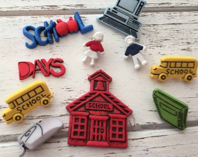 """School Buttons, Packaged Novelty Button Assortment by Buttons Galore, """"School Days"""" Style 4043, Shank Back, Sew Thru, & Flat Embellishments"""