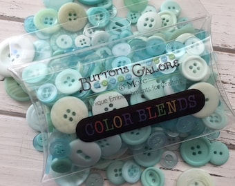 "Hand Dyed Buttons, Mint Shades, Pillow Box Filled With Button Assortment, ""Mint Cooler"" CB112, 1/2"" to 1"" Buttons, 2 and 4 Hole"
