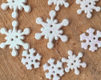 "Snowflake Buttons, Glittered Snowflakes Novelty Button Assortment Package by Buttons Galore, ""Frosty Flakes"" Style 4750, 2 Hole Sew Thru"