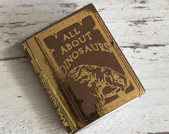 """Miniature Book, """"All About Dinosaurs"""", Dollhouse Miniature, 1:12 Scale, Dollhouse Book, Mini Book"""