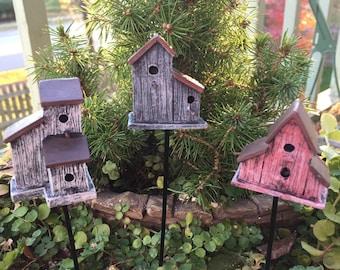 Mini Rustic Birdhouse Pick, Mini Bird House Stake, Choose Color Style, Fairy Garden, Miniature Garden, Dollhouse Decor, Birdhouse Pick