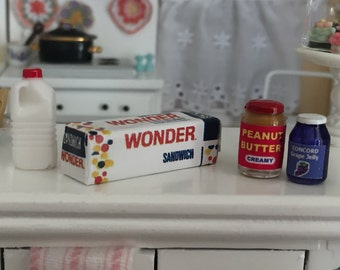 Miniature Peanut Butter and Jelly Fixings Set, Bread, Milk, Peanut Butter Jar, Jelly Jar, Dollhouse Miniatures, 1:12 Scale, Dollhouse Food