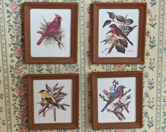 Miniature Framed Bird Pictures, Set of 4, Dollhouse Miniatures,  1:12 Scale, Dollhouse Accessories, Topper, Decor, Crafting
