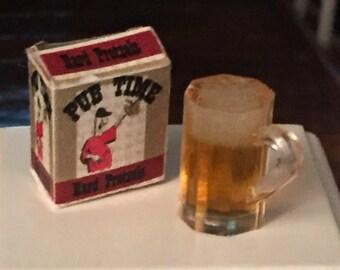 Miniature Dark Ale Beer Mug and Pub Time Pretzel Box, Dollhouse 1:12 Scale, Home Decor, Accessories