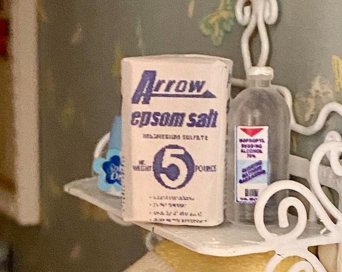 Miniature Bathroom Product, Mini Epsom Salt Package, Dollhouse Miniatures, 1:12 Scale, Dollhouse Bathroom Accessory, Decor