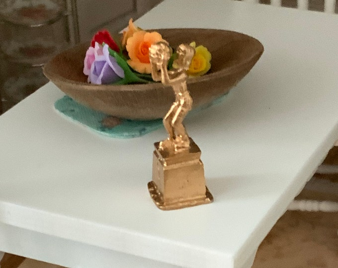 Miniature Trophy, Mini Girls Basketball  Trophy, Dollhouse Miniature 1:12 Scale, Style #793, Dollhouse Decor, Accessory, Mini Sports Trophy