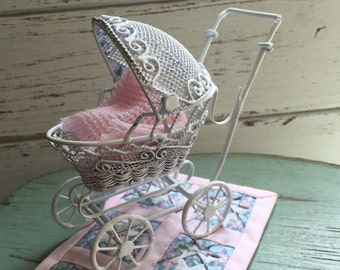 Miniature Baby Buggy, White Metal Wire Stroller, Dollhouse Miniature, 1:12 Scale, Dollhouse Furniture, Decor, Accessory, Nursery