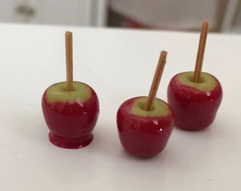 Miniature Candy Apples, Set of 3, Dollhouse Miniature, 1:12 Scale, Dollhouse Food, Accessory, Mini Food, Crafts