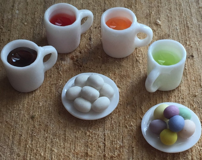 Featured listing image: Miniature Easter Egg Coloring Set, Dollhouse Miniatures, 1:12 Scale, Set includes Plates of Eggs and 4 Filled Dye Cups