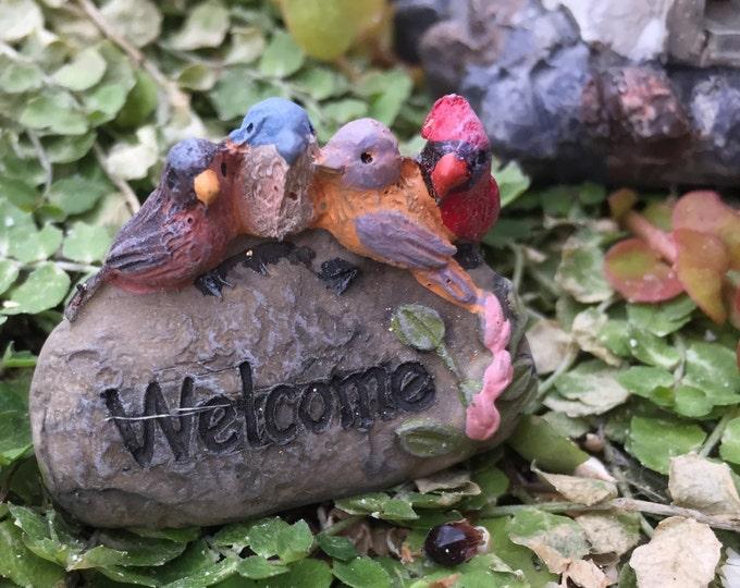 Miniature Welcome Rock With Birds, Fairy Garden Accessory, Miniature Garden Decor, Shelf Sitter, Topper, Zen Garden Accessory, Mini Birds