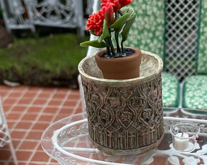 Miniature Flower Planter, Round Planter, Style #53, Dollhouse Miniature, 1:12 Scale, Flower Pot, Miniature Garden Accessory
